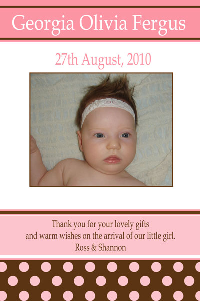 Girl birth annoucnements and baby thank you photo cards