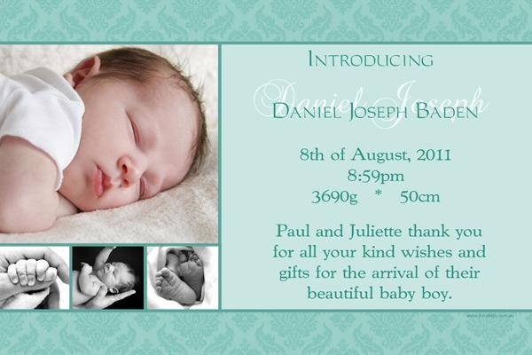 Birth Announcements and Baby Thank You Photo Cards for Boys - BA03