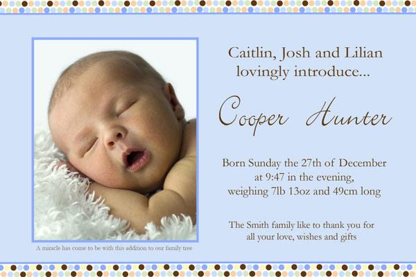 Birth Announcements and Baby Thank You Photo Cards for Boys - BA06