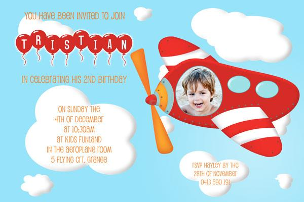 aeroplaned, flying theme boy birthday photo invitations and thank, Birthday invitations
