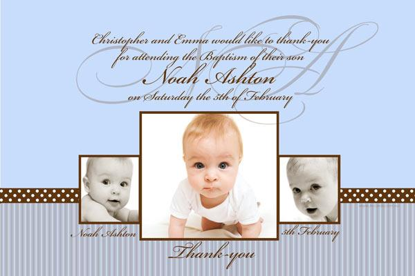 Baptism Christening and Naming Invitations for Boys Chocolate Stripes