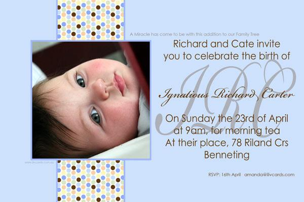 Baptism Christening And Naming Invitations For Boys With Coloured Spots