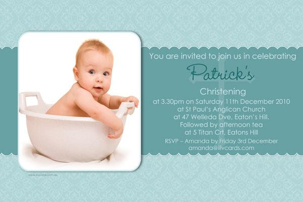 Baptism Christening And Naming Invitations For Boys In Green  Blue