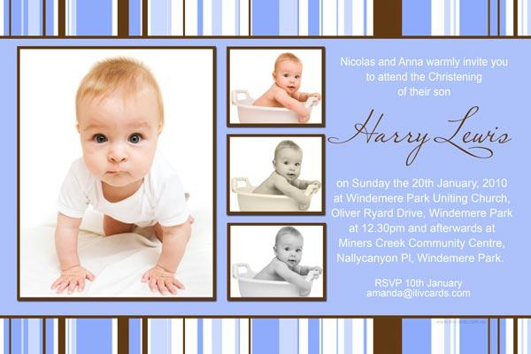 Baptism, Christening and Naming Invitations for Boys with Monogram ...