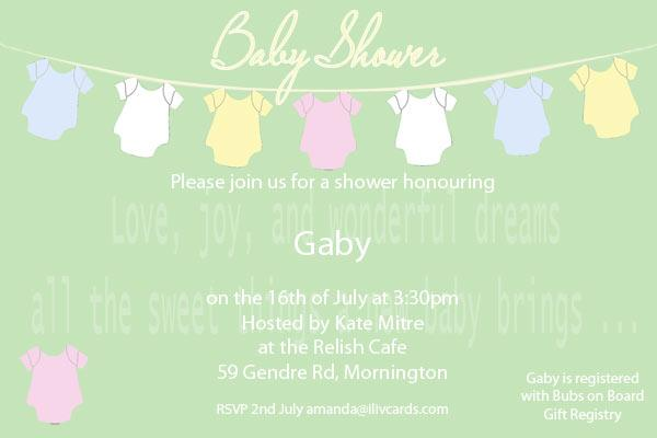 Baby Shower Photo Invitation - Baby Clothes line in sage
