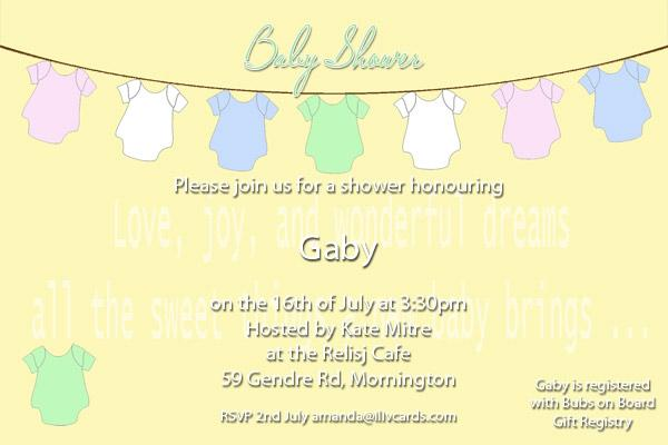 Baby Shower Photo Invitation - Baby Clothes line in Lemon-Photo cards, photo card, invitation, invitations, photo invitations, photo invitation, baby shower invitation, baby shower photo invitation, baby shower invitaitons, baby shower photo invitations,