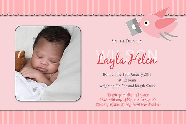 Birth Announcements for Girl with Bird Family – Baby Birth Invitation Card