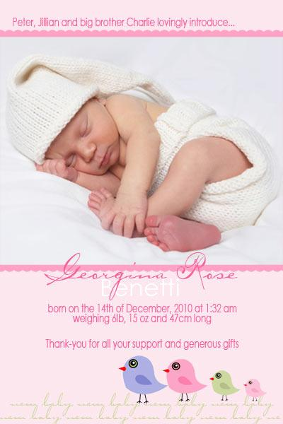 Birth Announcements and Baby Thank You Photo Cards for Girls with – Personalised Birth Announcements