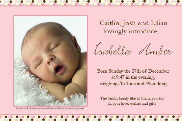 Birth Announcements and Baby Thank You Photo Cards for Girls – Baby Birth Invitation Card
