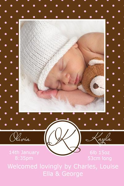 Birth Announcements and Baby Thank You Photo Cards for Girls - GA08
