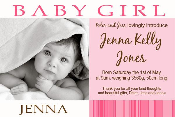 Birth Announcements and Baby Thank You Photo Cards for Girls - GA10-Photo cards, personalised photo cards, photocards, personalised photocards, baby cards, personalised baby cards, birth announcements, personalised birth announcements, christening invitations, personalised christening invitations, personalised invitations, personalised announcements, invitations, announcements, photo invitations, photo announcements, personalised photo invitations, personalised photo announcements, announcement cards, announcement photo cards, photo christening invitations, photo announcements, birthday invitations, personalised birthday invitations, photo birthday invitations, photocard birth announcements, photo card birth announcements, personalised photo card birth announcement, personalised photo birthday invitation, personalised invites, birth celebrations, personalised celebrations, personalised birth celebrations, baptism invitations, personalised baptism invitations, personalised photo baptism invitations, pregnancy announcements, pregnancy announcement cards,  pregnancy cards, personalised pregnancy announcements, personalised pregnancy announcement cards, personalised pregnancy cards, baby shower invitations, personalised baby shower invitations, engagement invitations, personalised engagement invitations, photo engagement invitations, personalised photo engagement invitations, engagement photo cards, save the date cards, personalised save the date cards, photo save the date cards, wedding thank-you cards, personalised wedding thank-you cards, wedding thank-you photo cards,
