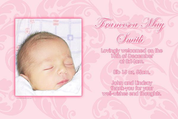 birth announcements and baby thank you photo cards for girls with bow