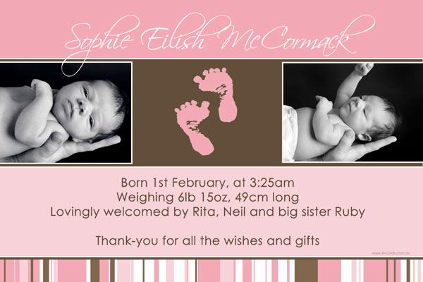 Birth Announcements and Baby Thank You Photo Cards for Girls - GA13-Photo cards, personalised photo cards, photocards, personalised photocards, baby cards, personalised baby cards, birth announcements, personalised birth announcements, christening invitations, personalised christening invitations, personalised invitations, personalised announcements, invitations, announcements, photo invitations, photo announcements, personalised photo invitations, personalised photo announcements, announcement cards, announcement photo cards, photo christening invitations, photo announcements, birthday invitations, personalised birthday invitations, photo birthday invitations, photocard birth announcements, photo card birth announcements, personalised photo card birth announcement, personalised photo birthday invitation, personalised invites, birth celebrations, personalised celebrations, personalised birth celebrations, baptism invitations, personalised baptism invitations, personalised photo baptism invitations, pregnancy announcements, pregnancy announcement cards,  pregnancy cards, personalised pregnancy announcements, personalised pregnancy announcement cards, personalised pregnancy cards, baby shower invitations, personalised baby shower invitations, engagement invitations, personalised engagement invitations, photo engagement invitations, personalised photo engagement invitations, engagement photo cards, save the date cards, personalised save the date cards, photo save the date cards, wedding thank-you cards, personalised wedding thank-you cards, wedding thank-you photo cards,