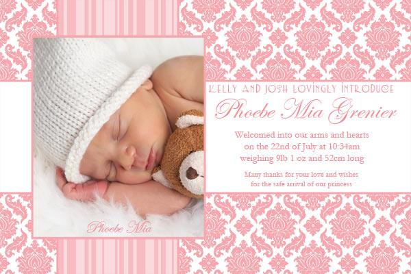 Birth Announcements Photo Cards for Girls with Rose Damask – Birth Announcements and Thank You Cards