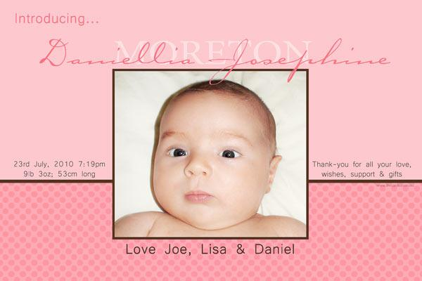 Birth Announcements and Baby Thank You Photo Cards for Girls - GA28