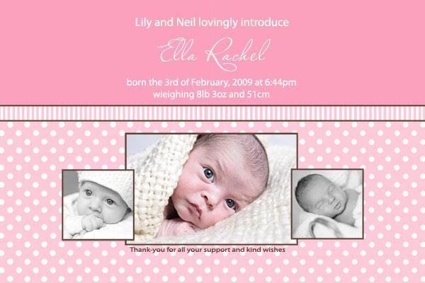 Birth Announcements And Baby Thank You Photo Cards For Girls With