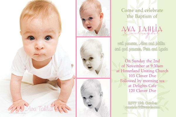 Baptism Christening And Naming Invitations For Girls With 4 Shaded