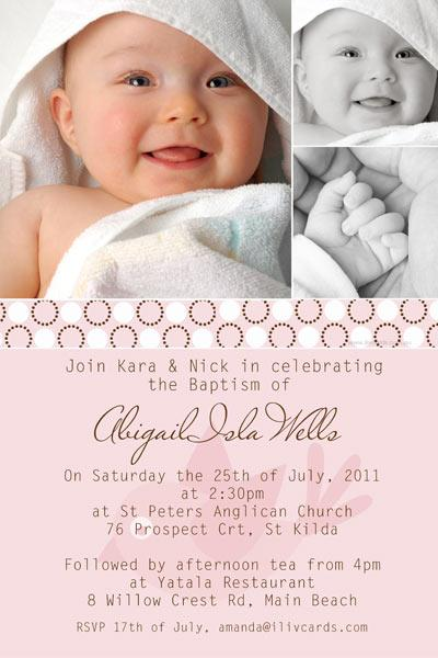 Christening, Baptism and Naming Day Invitations Photo Cards and Thank You Cards for Girls - GC07