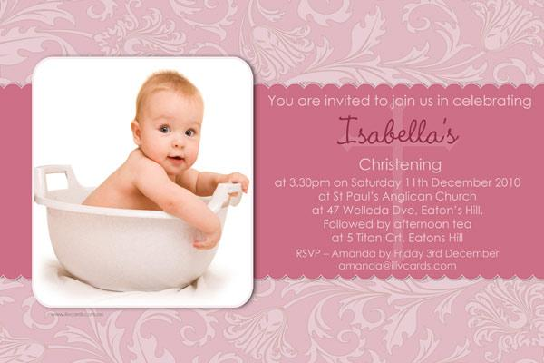 Baptism Christening And Naming Invitations For Girls With Floral