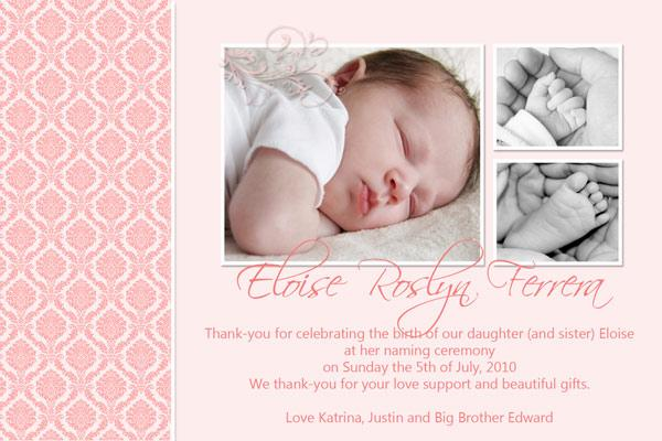 Baby, Birth, Baptism, Birthday Thank You Photo Cards for Girls GT01