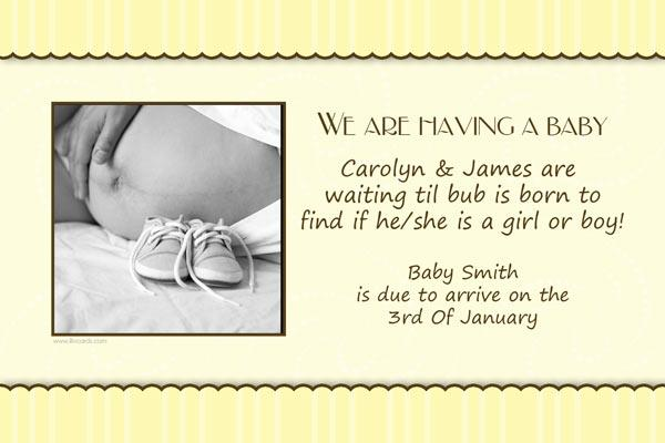 Pregnancy Announcements Photo Cards - Lemon Scalloped Stripes-Photo cards, pregnancy announcements, pregnancy announcement cards, personalised cards, personalised photo cards, personalised pregnancy announcements