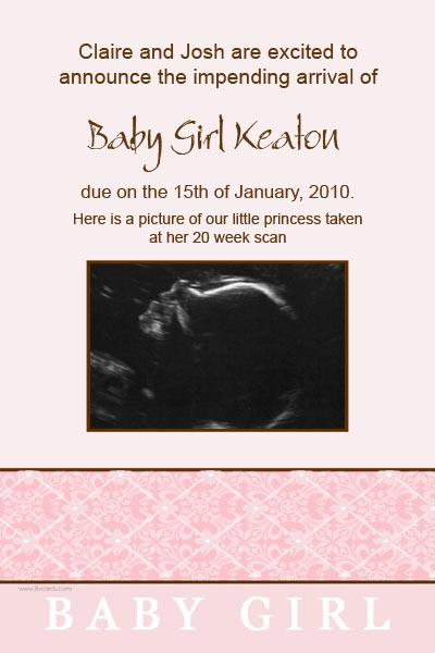 Pregnancy Announcements Photo Cards in Pink Diamonds-