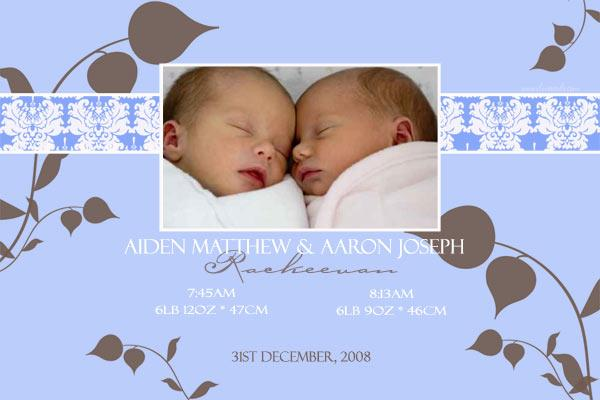 Birth Announcements and Baby Thank You Photo Cards for Twin Boy – Birth Announcement for Twins