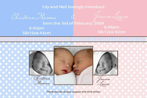 Birth Announcements and Baby Thank You Photo Cards for Twin Boy – Baby Birth Invitation Card