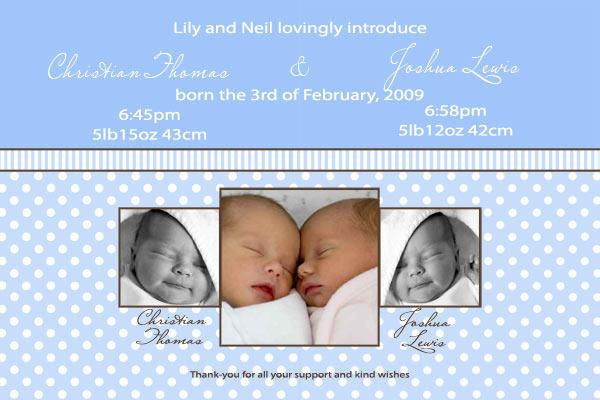 Birth Announcements and Baby Thank You Photo Cards for Twin Boy and Girl - TA05-Photo cards, personalised photo cards, photocards, personalised photocards, baby cards, personalised baby cards, birth announcements, personalised birth announcements, christening invitations, personalised christening invitations, personalised invitations, personalised announcements, invitations, announcements, photo invitations, photo announcements, personalised photo invitations, personalised photo announcements, announcement cards, announcement photo cards, photo christening invitations, photo announcements, birthday invitations, personalised birthday invitations, photo birthday invitations, photocard birth announcements, photo card birth announcements, personalised photo card birth announcement, personalised photo birthday invitation, personalised invites, birth celebrations, personalised celebrations, personalised birth celebrations, baptism invitations, personalised baptism invitations, personalised photo baptism invitations, pregnancy announcements, pregnancy announcement cards,  pregnancy cards, personalised pregnancy announcements, personalised pregnancy announcement cards, personalised pregnancy cards, baby shower invitations, personalised baby shower invitations, engagement invitations, personalised engagement invitations, photo engagement invitations, personalised photo engagement invitations, engagement photo cards, save the date cards, personalised save the date cards, photo save the date cards, wedding thank-you cards, personalised wedding thank-you cards, wedding thank-you photo cards,