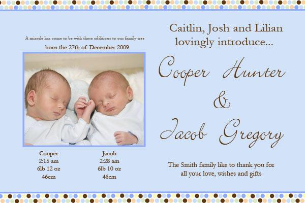 Birth Announcements And Baby Thank You Photo Cards For Twin Boy And
