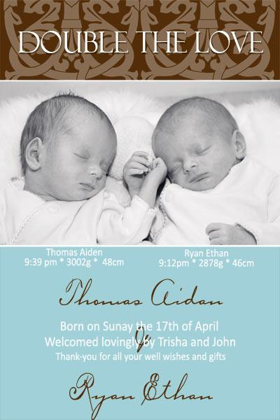 Birth Announcements and Baby Thank You Photo Cards for Twin Boys - TB05-Photo cards, personalised photo cards, photocards, personalised photocards, baby cards, personalised baby cards, birth announcements, personalised birth announcements, christening invitations, personalised christening invitations, personalised invitations, personalised announcements, invitations, announcements, photo invitations, photo announcements, personalised photo invitations, personalised photo announcements, announcement cards, announcement photo cards, photo christening invitations, photo announcements, birthday invitations, personalised birthday invitations, photo birthday invitations, photocard birth announcements, photo card birth announcements, personalised photo card birth announcement, personalised photo birthday invitation, personalised invites, birth celebrations, personalised celebrations, personalised birth celebrations, baptism invitations, personalised baptism invitations, personalised photo baptism invitations, pregnancy announcements, pregnancy announcement cards,  pregnancy cards, personalised pregnancy announcements, personalised pregnancy announcement cards, personalised pregnancy cards, baby shower invitations, personalised baby shower invitations, engagement invitations, personalised engagement invitations, photo engagement invitations, personalised photo engagement invitations, engagement photo cards, save the date cards, personalised save the date cards, photo save the date cards, wedding thank-you cards, personalised wedding thank-you cards, wedding thank-you photo cards,
