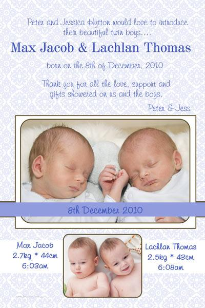 Birth Announcements and Baby Thank You Photo Cards for Twin Boys - TB10-Photo cards, personalised photo cards, photocards, personalised photocards, baby cards, personalised baby cards, birth announcements, personalised birth announcements, christening invitations, personalised christening invitations, personalised invitations, personalised announcements, invitations, announcements, photo invitations, photo announcements, personalised photo invitations, personalised photo announcements, announcement cards, announcement photo cards, photo christening invitations, photo announcements, birthday invitations, personalised birthday invitations, photo birthday invitations, photocard birth announcements, photo card birth announcements, personalised photo card birth announcement, personalised photo birthday invitation, personalised invites, birth celebrations, personalised celebrations, personalised birth celebrations, baptism invitations, personalised baptism invitations, personalised photo baptism invitations, pregnancy announcements, pregnancy announcement cards,  pregnancy cards, personalised pregnancy announcements, personalised pregnancy announcement cards, personalised pregnancy cards, baby shower invitations, personalised baby shower invitations, engagement invitations, personalised engagement invitations, photo engagement invitations, personalised photo engagement invitations, engagement photo cards, save the date cards, personalised save the date cards, photo save the date cards, wedding thank-you cards, personalised wedding thank-you cards, wedding thank-you photo cards,