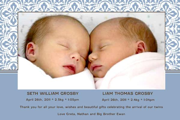 Birth Announcements and Baby Thank You Photo Cards for Twin Boys - TB11-Photo cards, personalised photo cards, photocards, personalised photocards, baby cards, personalised baby cards, birth announcements, personalised birth announcements, christening invitations, personalised christening invitations, personalised invitations, personalised announcements, invitations, announcements, photo invitations, photo announcements, personalised photo invitations, personalised photo announcements, announcement cards, announcement photo cards, photo christening invitations, photo announcements, birthday invitations, personalised birthday invitations, photo birthday invitations, photocard birth announcements, photo card birth announcements, personalised photo card birth announcement, personalised photo birthday invitation, personalised invites, birth celebrations, personalised celebrations, personalised birth celebrations, baptism invitations, personalised baptism invitations, personalised photo baptism invitations, pregnancy announcements, pregnancy announcement cards,  pregnancy cards, personalised pregnancy announcements, personalised pregnancy announcement cards, personalised pregnancy cards, baby shower invitations, personalised baby shower invitations, engagement invitations, personalised engagement invitations, photo engagement invitations, personalised photo engagement invitations, engagement photo cards, save the date cards, personalised save the date cards, photo save the date cards, wedding thank-you cards, personalised wedding thank-you cards, wedding thank-you photo cards,