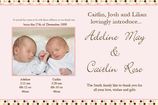 Birth Announcements and Baby Thank You Photo Cards for Twin Girls - TG04-Photo cards, personalised photo cards, photocards, personalised photocards, baby cards, personalised baby cards, birth announcements, personalised birth announcements, christening invitations, personalised christening invitations, personalised invitations, personalised announcements, invitations, announcements, photo invitations, photo announcements, personalised photo invitations, personalised photo announcements, announcement cards, announcement photo cards, photo christening invitations, photo announcements, birthday invitations, personalised birthday invitations, photo birthday invitations, photocard birth announcements, photo card birth announcements, personalised photo card birth announcement, personalised photo birthday invitation, personalised invites, birth celebrations, personalised celebrations, personalised birth celebrations, baptism invitations, personalised baptism invitations, personalised photo baptism invitations, pregnancy announcements, pregnancy announcement cards,  pregnancy cards, personalised pregnancy announcements, personalised pregnancy announcement cards, personalised pregnancy cards, baby shower invitations, personalised baby shower invitations, engagement invitations, personalised engagement invitations, photo engagement invitations, personalised photo engagement invitations, engagement photo cards, save the date cards, personalised save the date cards, photo save the date cards, wedding thank-you cards, personalised wedding thank-you cards, wedding thank-you photo cards,