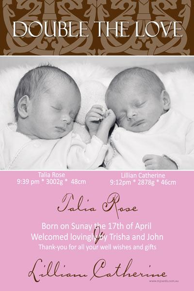 Birth Announcements and Baby Thank You Photo Cards for Twin Girls - TG05-Photo cards, personalised photo cards, photocards, personalised photocards, baby cards, personalised baby cards, birth announcements, personalised birth announcements, christening invitations, personalised christening invitations, personalised invitations, personalised announcements, invitations, announcements, photo invitations, photo announcements, personalised photo invitations, personalised photo announcements, announcement cards, announcement photo cards, photo christening invitations, photo announcements, birthday invitations, personalised birthday invitations, photo birthday invitations, photocard birth announcements, photo card birth announcements, personalised photo card birth announcement, personalised photo birthday invitation, personalised invites, birth celebrations, personalised celebrations, personalised birth celebrations, baptism invitations, personalised baptism invitations, personalised photo baptism invitations, pregnancy announcements, pregnancy announcement cards,  pregnancy cards, personalised pregnancy announcements, personalised pregnancy announcement cards, personalised pregnancy cards, baby shower invitations, personalised baby shower invitations, engagement invitations, personalised engagement invitations, photo engagement invitations, personalised photo engagement invitations, engagement photo cards, save the date cards, personalised save the date cards, photo save the date cards, wedding thank-you cards, personalised wedding thank-you cards, wedding thank-you photo cards,