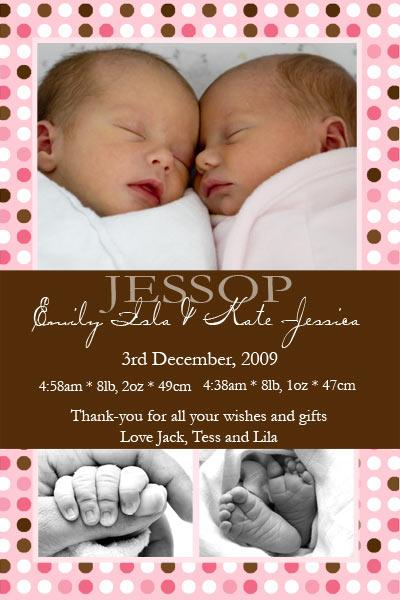 Birth Announcements and Baby Thank You Photo Cards for Twin Girls - TG07-Photo cards, personalised photo cards, photocards, personalised photocards, baby cards, personalised baby cards, birth announcements, personalised birth announcements, christening invitations, personalised christening invitations, personalised invitations, personalised announcements, invitations, announcements, photo invitations, photo announcements, personalised photo invitations, personalised photo announcements, announcement cards, announcement photo cards, photo christening invitations, photo announcements, birthday invitations, personalised birthday invitations, photo birthday invitations, photocard birth announcements, photo card birth announcements, personalised photo card birth announcement, personalised photo birthday invitation, personalised invites, birth celebrations, personalised celebrations, personalised birth celebrations, baptism invitations, personalised baptism invitations, personalised photo baptism invitations, pregnancy announcements, pregnancy announcement cards,  pregnancy cards, personalised pregnancy announcements, personalised pregnancy announcement cards, personalised pregnancy cards, baby shower invitations, personalised baby shower invitations, engagement invitations, personalised engagement invitations, photo engagement invitations, personalised photo engagement invitations, engagement photo cards, save the date cards, personalised save the date cards, photo save the date cards, wedding thank-you cards, personalised wedding thank-you cards, wedding thank-you photo cards,