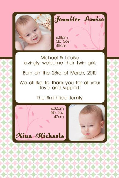 Birth Announcements and Baby Thank You Photo Cards for Twin Girls - TG08-Photo cards, personalised photo cards, photocards, personalised photocards, baby cards, personalised baby cards, birth announcements, personalised birth announcements, christening invitations, personalised christening invitations, personalised invitations, personalised announcements, invitations, announcements, photo invitations, photo announcements, personalised photo invitations, personalised photo announcements, announcement cards, announcement photo cards, photo christening invitations, photo announcements, birthday invitations, personalised birthday invitations, photo birthday invitations, photocard birth announcements, photo card birth announcements, personalised photo card birth announcement, personalised photo birthday invitation, personalised invites, birth celebrations, personalised celebrations, personalised birth celebrations, baptism invitations, personalised baptism invitations, personalised photo baptism invitations, pregnancy announcements, pregnancy announcement cards,  pregnancy cards, personalised pregnancy announcements, personalised pregnancy announcement cards, personalised pregnancy cards, baby shower invitations, personalised baby shower invitations, engagement invitations, personalised engagement invitations, photo engagement invitations, personalised photo engagement invitations, engagement photo cards, save the date cards, personalised save the date cards, photo save the date cards, wedding thank-you cards, personalised wedding thank-you cards, wedding thank-you photo cards,