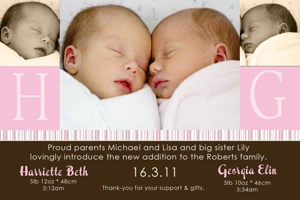 Birth Announcements and Baby Thank You Photo Cards for Twin Girls - TG09-Photo cards, personalised photo cards, photocards, personalised photocards, baby cards, personalised baby cards, birth announcements, personalised birth announcements, christening invitations, personalised christening invitations, personalised invitations, personalised announcements, invitations, announcements, photo invitations, photo announcements, personalised photo invitations, personalised photo announcements, announcement cards, announcement photo cards, photo christening invitations, photo announcements, birthday invitations, personalised birthday invitations, photo birthday invitations, photocard birth announcements, photo card birth announcements, personalised photo card birth announcement, personalised photo birthday invitation, personalised invites, birth celebrations, personalised celebrations, personalised birth celebrations, baptism invitations, personalised baptism invitations, personalised photo baptism invitations, pregnancy announcements, pregnancy announcement cards,  pregnancy cards, personalised pregnancy announcements, personalised pregnancy announcement cards, personalised pregnancy cards, baby shower invitations, personalised baby shower invitations, engagement invitations, personalised engagement invitations, photo engagement invitations, personalised photo engagement invitations, engagement photo cards, save the date cards, personalised save the date cards, photo save the date cards, wedding thank-you cards, personalised wedding thank-you cards, wedding thank-you photo cards,
