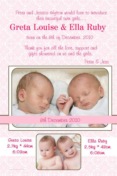 Birth Announcements And Baby Thank You Photo Cards For Twin Girls - Birthday invitation cards twins