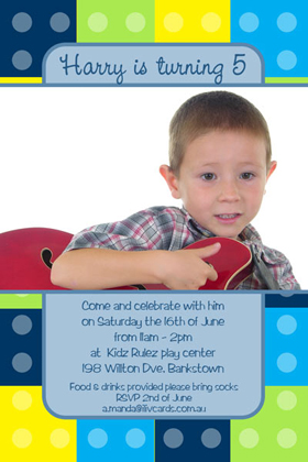 Boy Birthday Invitations and Thank You Photo Cards BB18-