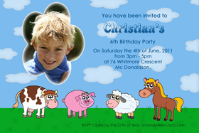 Boy Birthday Invitations and Thank You Photo Cards BB40-Photo cards, personalised photo cards, photocards, personalised photocards, personalised invitations, photo invitations, personalised photo invitations, invitation cards, invitation photo cards, photo invites, photocard birthday invites, photo card birth invites, personalised photo card birthday invitations, thank-you photo cards, farm invitations, barn yard birthday invitations, farm animals birthday invitations