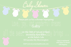 Baby Shower Photo Invitation - Baby Clothes line in sage-Photo cards, photo card, invitation, invitations, photo invitations, photo invitation, baby shower invitation, baby shower photo invitation, baby shower invitaitons, baby shower photo invitations,