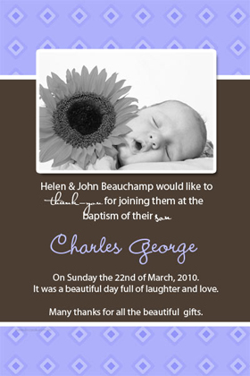 Boy Thank You Photo Cards for Baby, Baptism and Birthday BT10-Photo Cards, Photo invitations, Birth Announcements, Birth Announcement Cards, Christening Photo Invitations, Baptism Photo Invitations, Naming Day Photo Invitaitons, Birthday  Photo Invitations, Pregnancy Announcement Cards,Thankyou Photo Cards