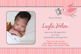 Girl Birth Announcements and Baby Thank You Photo Cards GA02-Photo cards, personalised photo cards, photocards, personalised photocards, baby cards, personalised baby cards, birth announcements, personalised birth announcements, christening invitations, personalised christening invitations, personalised invitations, personalised announcements, invitations, announcements, photo invitations, photo announcements, personalised photo invitations, personalised photo announcements, announcement cards, announcement photo cards, photo christening invitations, photo announcements, birthday invitations, personalised birthday invitations, photo birthday invitations, photocard birth announcements, photo card birth announcements, personalised photo card birth announcement, personalised photo birthday invitation, personalised invites, birth celebrations, personalised celebrations, personalised birth celebrations, baptism invitations, personalised baptism invitations, personalised photo baptism invitations, pregnancy announcements, pregnancy announcement cards,  pregnancy cards, personalised pregnancy announcements, personalised pregnancy announcement cards, personalised pregnancy cards, baby shower invitations, personalised baby shower invitations, engagement invitations, personalised engagement invitations, photo engagement invitations, personalised photo engagement invitations, engagement photo cards, save the date cards, personalised save the date cards, photo save the date cards, wedding thank-you cards, personalised wedding thank-you cards, wedding thank-you photo cards, bird baby thank you cards, bird birth announcements