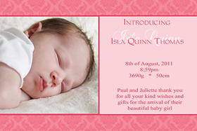 Girl Birth Announcements and Baby Thank You Photo Cards GA03-Photo cards, personalised photo cards, photocards, personalised photocards, baby cards, personalised baby cards, birth announcements, personalised birth announcements, christening invitations, personalised christening invitations, personalised invitations, personalised announcements, invitations, announcements, photo invitations, photo announcements, personalised photo invitations, personalised photo announcements, announcement cards, announcement photo cards, photo christening invitations, photo announcements, birthday invitations, personalised birthday invitations, photo birthday invitations, photocard birth announcements, photo card birth announcements, personalised photo card birth announcement, personalised photo birthday invitation, personalised invites, birth celebrations, personalised celebrations, personalised birth celebrations, baptism invitations, personalised baptism invitations, personalised photo baptism invitations, pregnancy announcements, pregnancy announcement cards,  pregnancy cards, personalised pregnancy announcements, personalised pregnancy announcement cards, personalised pregnancy cards, baby shower invitations, personalised baby shower invitations, engagement invitations, personalised engagement invitations, photo engagement invitations, personalised photo engagement invitations, engagement photo cards, save the date cards, personalised save the date cards, photo save the date cards, wedding thank-you cards, personalised wedding thank-you cards, wedding thank-you photo cards,