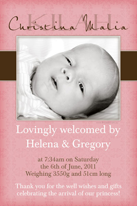 Girl Birth Announcements and Baby Thank You Photo Cards GA41-Photo cards, personalised photo cards, photocards, personalised photocards, baby cards, personalised baby cards, birth announcements, personalised birth announcements, christening invitations, personalised christening invitations, personalised invitations, personalised announcements, invitations, announcements, photo invitations, photo announcements, personalised photo invitations, personalised photo announcements, announcement cards, announcement photo cards, photo christening invitations, photo announcements, birthday invitations, personalised birthday invitations, photo birthday invitations, photocard birth announcements, photo card birth announcements, personalised photo card birth announcement, personalised photo birthday invitation, personalised invites, birth celebrations, personalised celebrations, personalised birth celebrations, baptism invitations, personalised baptism invitations, personalised photo baptism invitations, pregnancy announcements, pregnancy announcement cards,  pregnancy cards, personalised pregnancy announcements, personalised pregnancy announcement cards, personalised pregnancy cards, baby shower invitations, personalised baby shower invitations, engagement invitations, personalised engagement invitations, photo engagement invitations, personalised photo engagement invitations, engagement photo cards, save the date cards, personalised save the date cards, photo save the date cards, wedding thank-you cards, personalised wedding thank-you cards, wedding thank-you photo cards,