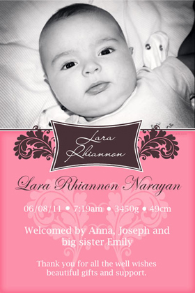 Girl Birth Announcements and Baby Thank You Photo Cards GA44-Photo cards, personalised photo cards, photocards, personalised photocards, baby cards, personalised baby cards, birth announcements, personalised birth announcements, christening invitations, personalised christening invitations, personalised invitations, personalised announcements, invitations, announcements, photo invitations, photo announcements, personalised photo invitations, personalised photo announcements, announcement cards, announcement photo cards, photo christening invitations, photo announcements, birthday invitations, personalised birthday invitations, photo birthday invitations, photocard birth announcements, photo card birth announcements, personalised photo card birth announcement, personalised photo birthday invitation, personalised invites, birth celebrations, personalised celebrations, personalised birth celebrations, baptism invitations, personalised baptism invitations, personalised photo baptism invitations, pregnancy announcements, pregnancy announcement cards,  pregnancy cards, personalised pregnancy announcements, personalised pregnancy announcement cards, personalised pregnancy cards, baby shower invitations, personalised baby shower invitations, engagement invitations, personalised engagement invitations, photo engagement invitations, personalised photo engagement invitations, engagement photo cards, save the date cards, personalised save the date cards, photo save the date cards, wedding thank-you cards, personalised wedding thank-you cards, wedding thank-you photo cards,