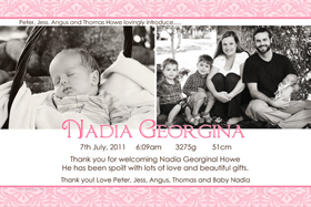 Girl Birth Announcements and Baby Thank You Photo Cards GA50-Photo cards, personalised photo cards, photocards, personalised photocards, baby cards, personalised baby cards, birth announcements, personalised birth announcements, christening invitations, personalised christening invitations, personalised invitations, personalised announcements, invitations, announcements, photo invitations, photo announcements, personalised photo invitations, personalised photo announcements, announcement cards, announcement photo cards, photo christening invitations, photo announcements, birthday invitations, personalised birthday invitations, photo birthday invitations, photocard birth announcements, photo card birth announcements, personalised photo card birth announcement, personalised photo birthday invitation, personalised invites, birth celebrations, personalised celebrations, personalised birth celebrations, baptism invitations, personalised baptism invitations, personalised photo baptism invitations, pregnancy announcements, pregnancy announcement cards,  pregnancy cards, personalised pregnancy announcements, personalised pregnancy announcement cards, personalised pregnancy cards, baby shower invitations, personalised baby shower invitations, engagement invitations, personalised engagement invitations, photo engagement invitations, personalised photo engagement invitations, engagement photo cards, save the date cards, personalised save the date cards, photo save the date cards, wedding thank-you cards, personalised wedding thank-you cards, wedding thank-you photo cards,