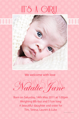 Girl Birth Announcements and Baby Thank You Photo Cards GA51-Photo cards, personalised photo cards, photocards, personalised photocards, baby cards, personalised baby cards, birth announcements, personalised birth announcements, christening invitations, personalised christening invitations, personalised invitations, personalised announcements, invitations, announcements, photo invitations, photo announcements, personalised photo invitations, personalised photo announcements, announcement cards, announcement photo cards, photo christening invitations, photo announcements, birthday invitations, personalised birthday invitations, photo birthday invitations, photocard birth announcements, photo card birth announcements, personalised photo card birth announcement, personalised photo birthday invitation, personalised invites, birth celebrations, personalised celebrations, personalised birth celebrations, baptism invitations, personalised baptism invitations, personalised photo baptism invitations, pregnancy announcements, pregnancy announcement cards,  pregnancy cards, personalised pregnancy announcements, personalised pregnancy announcement cards, personalised pregnancy cards, baby shower invitations, personalised baby shower invitations, engagement invitations, personalised engagement invitations, photo engagement invitations, personalised photo engagement invitations, engagement photo cards, save the date cards, personalised save the date cards, photo save the date cards, wedding thank-you cards, personalised wedding thank-you cards, wedding thank-you photo cards,