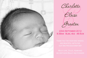 Girl Birth Announcements and Baby Thank You Photo Cards GA54-Photo cards, personalised photo cards, photocards, personalised photocards, baby cards, personalised baby cards, birth announcements, personalised birth announcements, christening invitations, personalised christening invitations, personalised invitations, personalised announcements, invitations, announcements, photo invitations, photo announcements, personalised photo invitations, personalised photo announcements, announcement cards, announcement photo cards, photo christening invitations, photo announcements, birthday invitations, personalised birthday invitations, photo birthday invitations, photocard birth announcements, photo card birth announcements, personalised photo card birth announcement, personalised photo birthday invitation, personalised invites, birth celebrations, personalised celebrations, personalised birth celebrations, baptism invitations, personalised baptism invitations, personalised photo baptism invitations, pregnancy announcements, pregnancy announcement cards,  pregnancy cards, personalised pregnancy announcements, personalised pregnancy announcement cards, personalised pregnancy cards, baby shower invitations, personalised baby shower invitations, engagement invitations, personalised engagement invitations, photo engagement invitations, personalised photo engagement invitations, engagement photo cards, save the date cards, personalised save the date cards, photo save the date cards, wedding thank-you cards, personalised wedding thank-you cards, wedding thank-you photo cards,